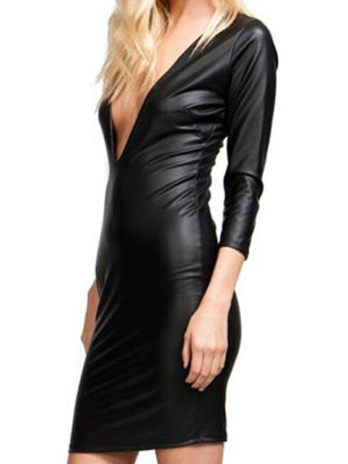 Lethalbeauty ? deep plunge leather mini dress