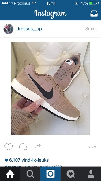 shoes clothes nike brown sports shoes running shoes nike running shoes pink sneakers nike sneakers blush pink pink sneakers tan beige nike shoes nude nude nike tanshoes brownshoes brownnike nude sneakers nike roshe run tick running amazing lovely perfect beige shoes nikes cream low top sneakers nude shoes