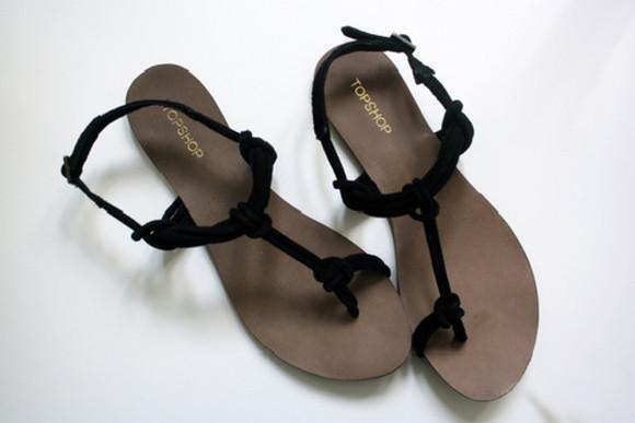 knot sandals shoes strappy sandals flats topshop