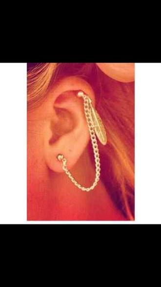 jewels piercing cartilage dangle feathers jewelry boho jewelry earrings ear cuff silver earrings