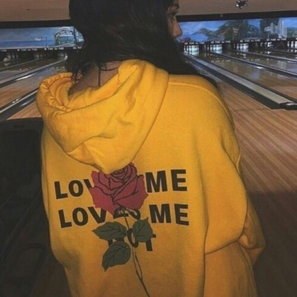 sweater yellow red rose love me love  me