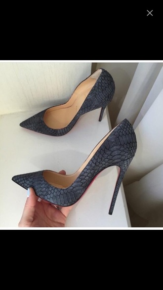shoes grey snake print pumps