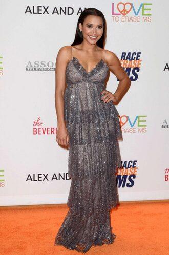 dress glitter glitter dress sparkly dress maxi dress plunge dress naya rivera silver gown prom dress