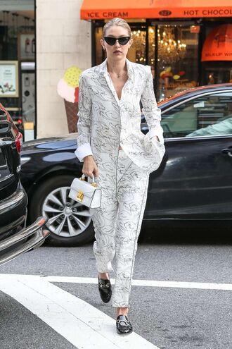 pants blouse gigi hadid streetstyle model off-duty pajama style silk silk pants shoes