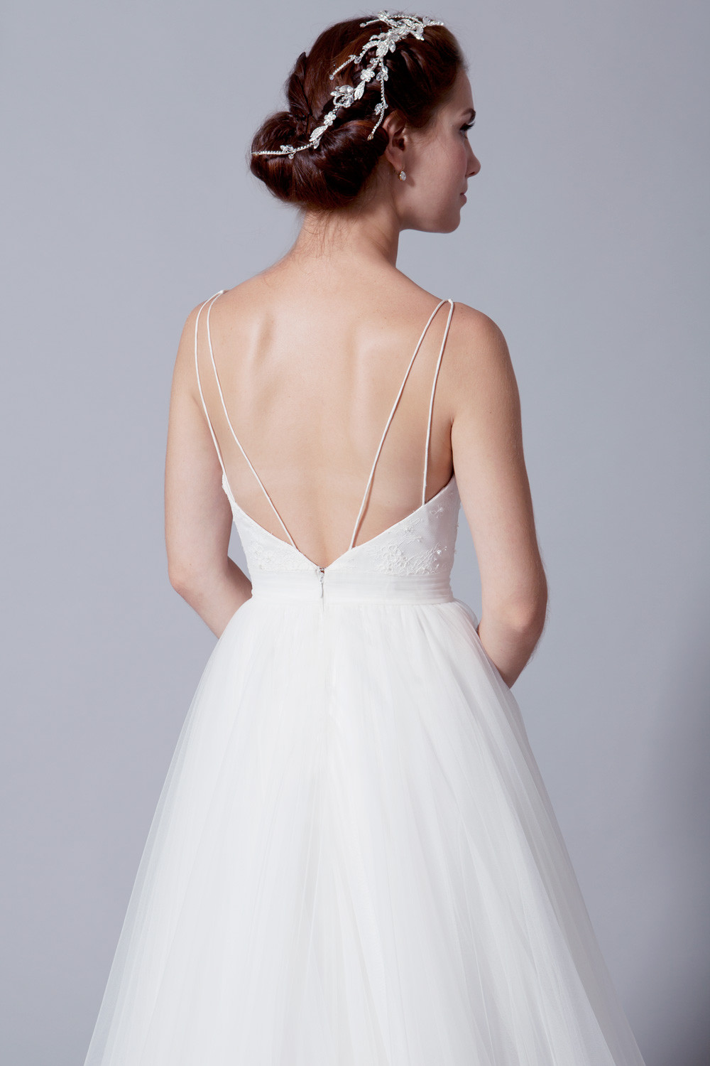 Neck soft tulle simple lace wedding dress (50126)