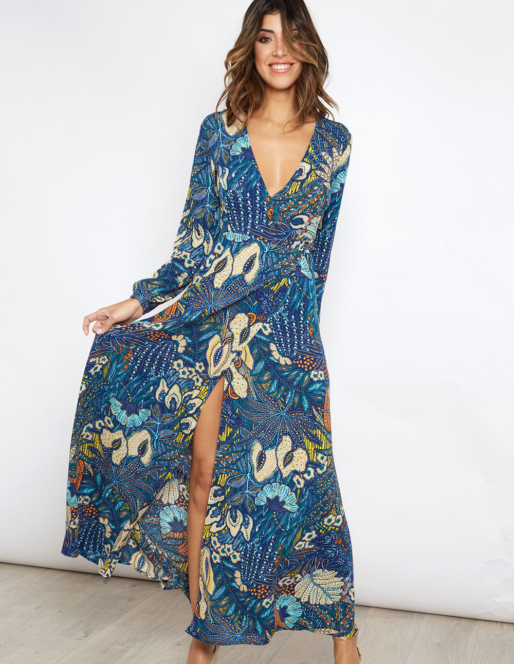 Blue Vanilla CARY - Wrap Printed Maxi Dress in navy