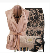blouse,top,skirt,shoes,bag,purse,belt,peach,lace,lace skirt,pencil skirt,form fitting,knee length,heels,high heels,black heels,peep toe ankle strap,clothes,outfit,classy