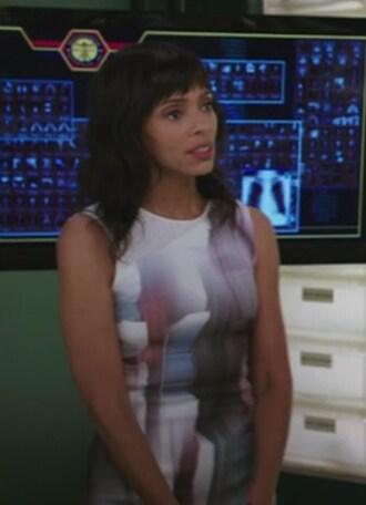 dress white printed sleeveless dr camille saroyan bones tv show tamara taylor