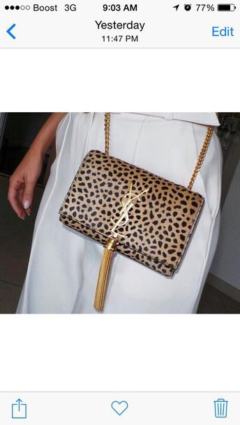 Bag: leopard print, leopard print clutch, ysl clutch, gold, clutch ...