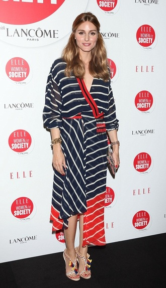 dress olivia palermo sandals stripes midi dress asymmetrical