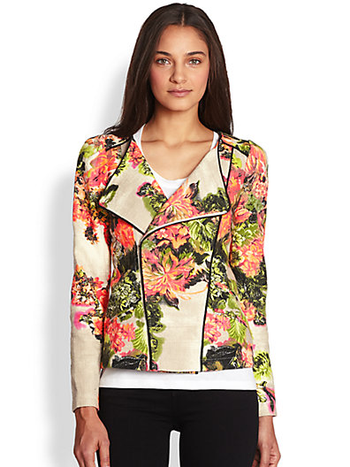 Line & Dot - Printed Woven Cotton Moto Jacket - Saks.com