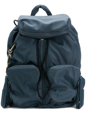 women backpack cotton blue bag