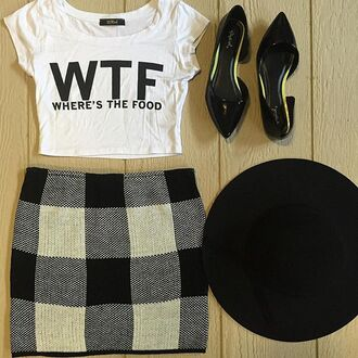 skirt floppy hat mini skirt knit knitwear knitskirt fashion fall outfits boutiques boutique divergence clothing black and white black and white skirt tumblr outfit tumblr cloths this skirt high waisted skirt black skirt checkered skirt