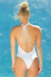 swimwear,elizabeth jane,super comfortable material,one piece,white,plunge dress,strappy back detailing,cheeky fit