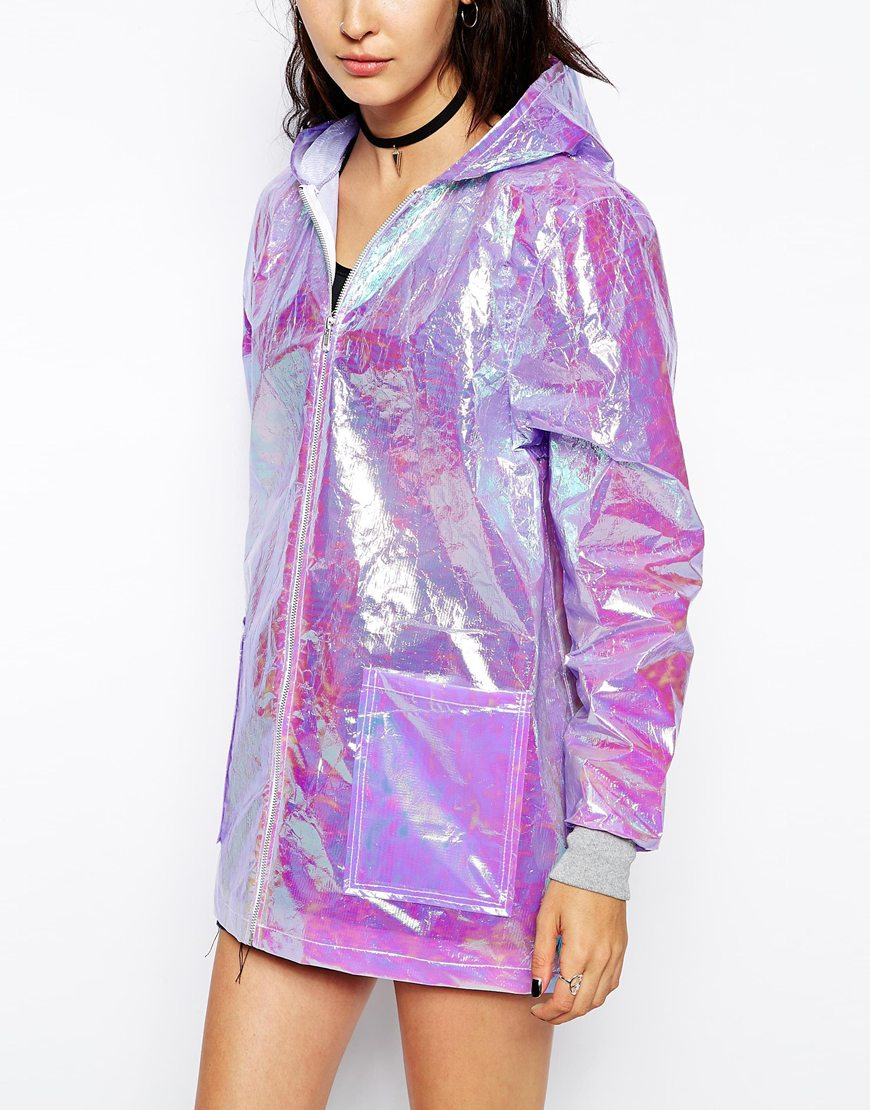 The Ragged Priest Hooded Festival Rain Holographic Jacket at asos.com