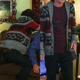 cardigan aztec the middle axel axel heck charlie mcdermott sweater sw aztec sweater buffalo printed sweater