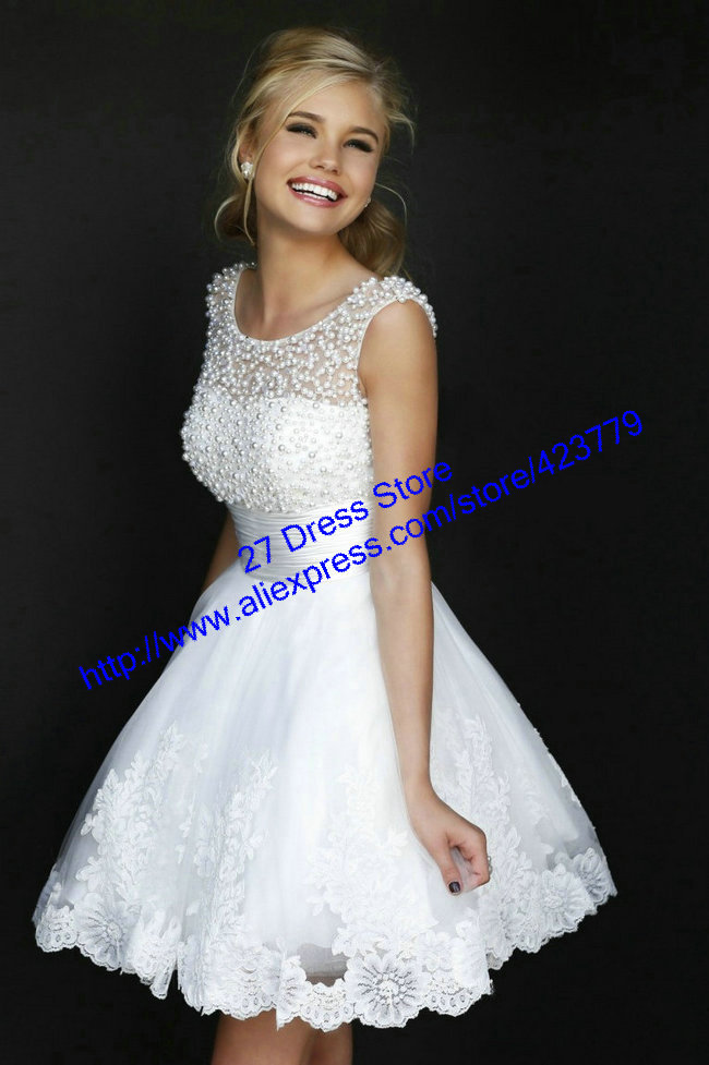 Aliexpress.com : Buy Chic Style White Sheer Pearl Top Girls Pageant Dresses Min Open Back Lace Cocktail and Party Dresses 2014 from Reliable dress career suppliers on 27 Dress