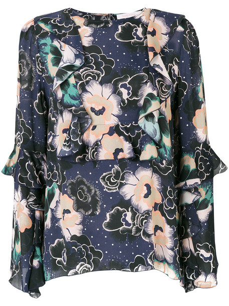 See by Chloe blouse printed blouse women floral silk top