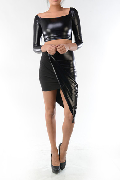 skirt slit skirt pencil skirt pu faux leather asymmetrical skirt
