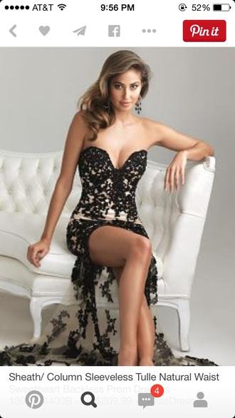 dress black lace prom slit long dress strapless