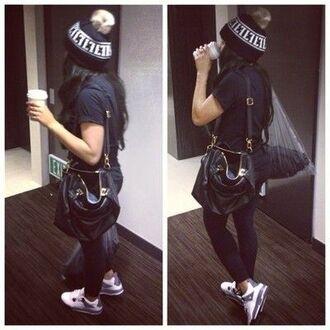 shoes jordans purse beanie black bag hat
