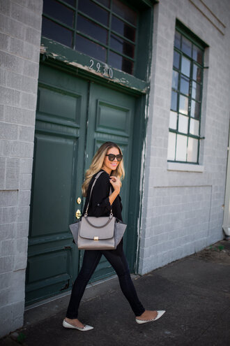 the teacher diva blogger sunglasses jewels black jeans grey bag skinny jeans flats black top work outfits jeans bag shoulder bag black sunglasses pointed flats white flats fall outfits