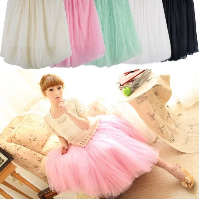 Women Ladies Girl Princess Fairy Style 5 layers Tulle Dress Bouffant Skirt NEW