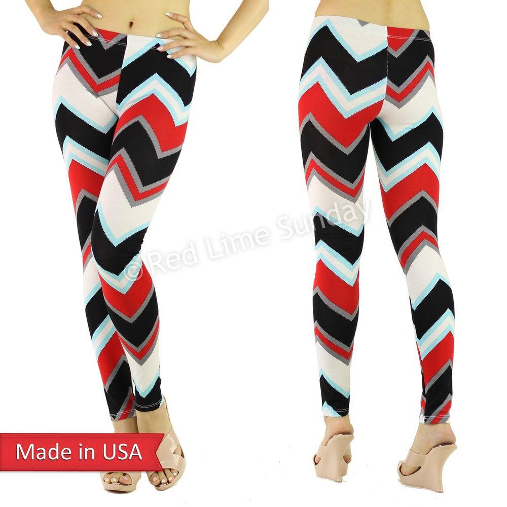 Women Color Chevron Zigzag Stripe Soft Rayon Leggings Tights Pants Reg Plus USA