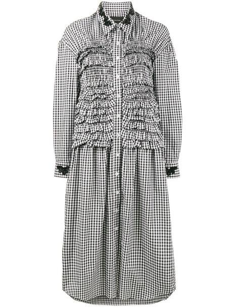 Simone Rocha dress shirt dress ruffle women cotton black gingham