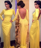 dress,yellow,prom,open back,gown,formal,elegant,classy,evening dress,fashion,dressofgirl