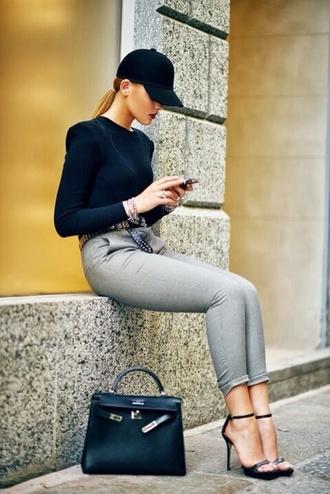 hat black cap cap top black top pants grey pants sandals black sandals sandal heels high heel sandals bag black bag hermes bag hermes kayture kristina bazan top blogger lifestyle