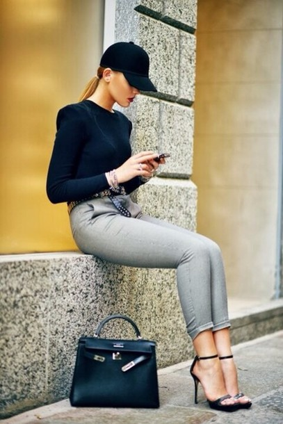 sweater black cap baseball cap skinny pants grey pants cuffed black leather bag hat pants shoes shirt jeans heels bag black cap top black top sandals black sandals sandal heels high heel sandals black bag hermes bag hermes kayture kristina bazan top blogger lifestyle