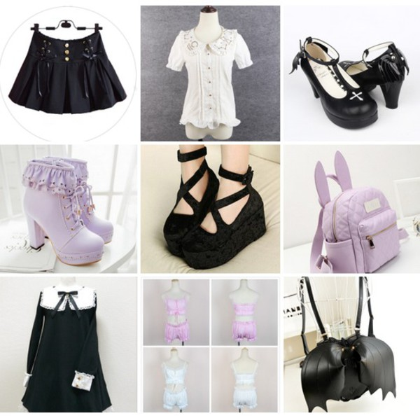 Dress Goth Bat Halloween Cross Blouse Lolita