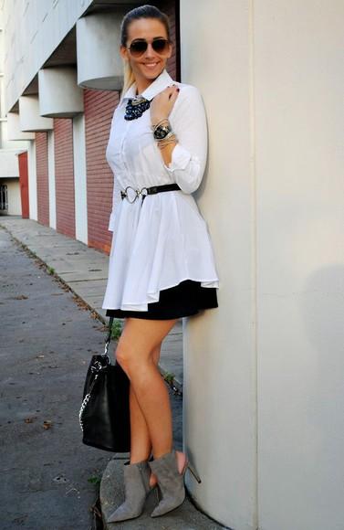blouse white blouse let's talk about fashion ! blogger bag sunglasses jewels