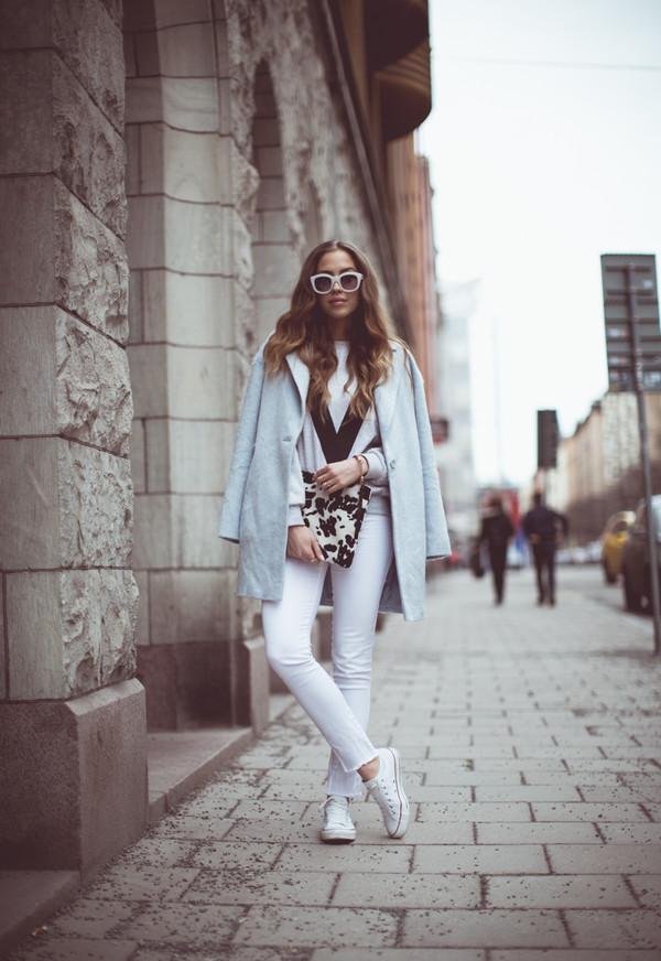kenza sweater coat sunglasses jewels bag pants