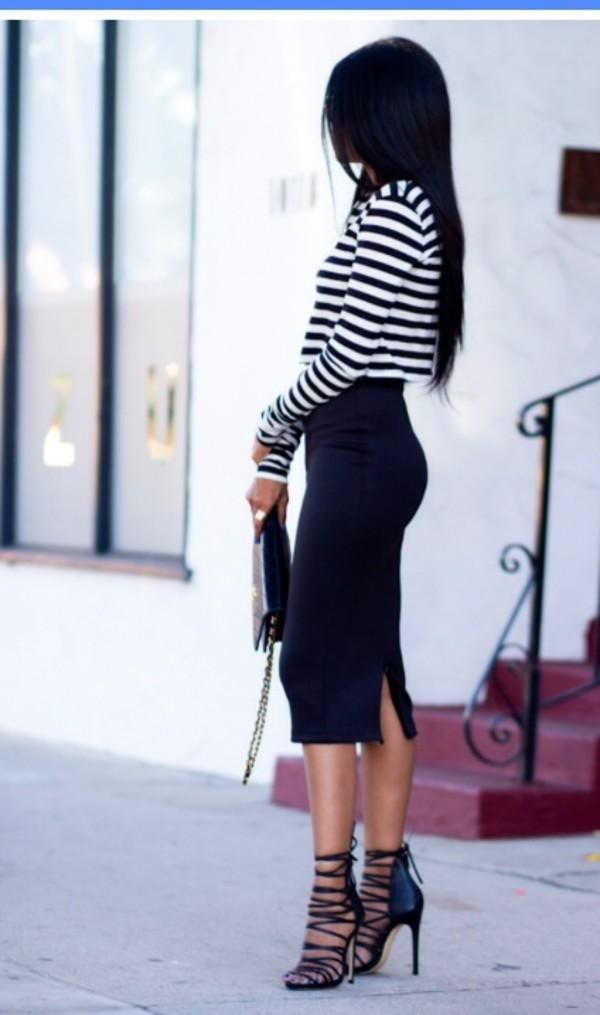 Skirt: black, black skirt, tight skirt, midi skirt, shoes, heels ...