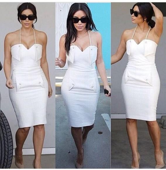 pearl white dress kim kardashian