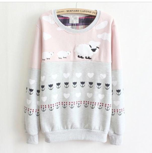 sweater clouds flowers jumper sweater dress oversized tartan