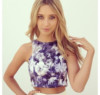 tank top flowers pretty girl purple and white top crop tops floral