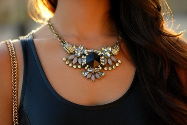 jewels necklace jewelry bling cute diamonds chic elegant statement necklace statement black
