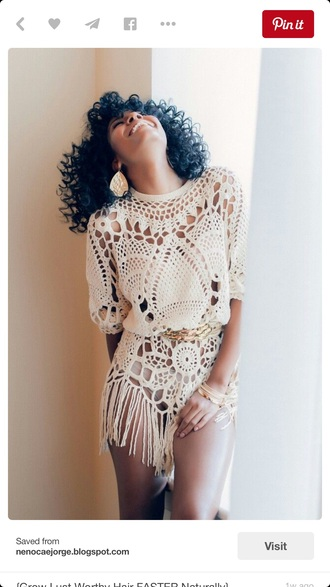 top crochet tunic fringed top coachella fashion gold belt brooke slad aminah williams crochet top chrochet lace coachella dress