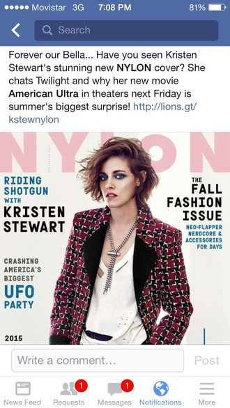 coat kristen stewart magazine red print style silver necklace red coat pattern short hair