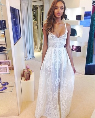 lace white dress white dress classy wedding dress simple live celebrity style white lace white blonde long dress