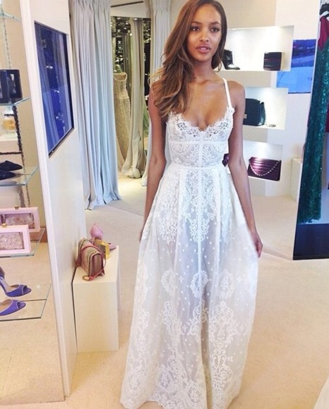 dress white lace white lace white dress wedding dress simple elegant live celebrity dresses white blonde long dress