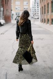 jacket,tumblr,skirt,maxi skirt,printed skirt,flowy,boots,black boots,high heels boots,bag,black bag,chain bag,black leather jacket,leather jacket,black jacket,glitter,gold,black and gold,holiday dress