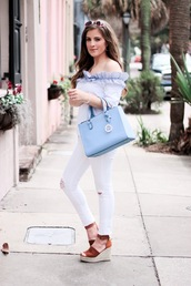thedaintydarling,blogger,top,jeans,shoes,bag,jewels,sunglasses,off the shoulder top,handbag,blue bag,wedges,white pants