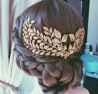 hair accessory gold wedding accessories leafs