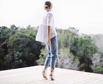 happily grey blogger heels white top ripped jeans