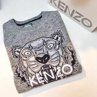 shirt kenzo kenzo sweater grey sweater tiger