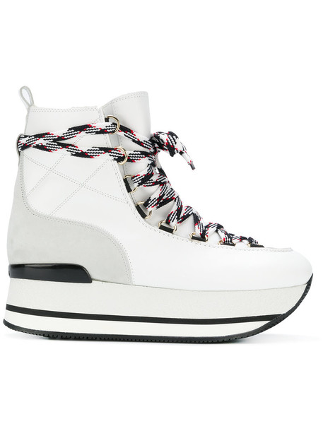 Hogan women leather white suede shoes